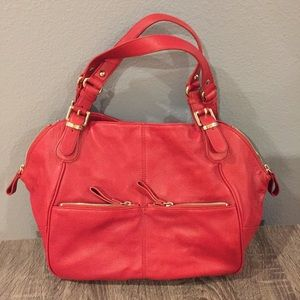 Anne Klein red leather purse with gold hardware